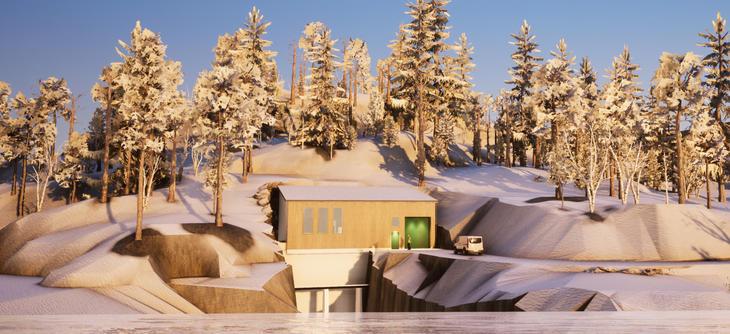 3D-illustrasjon av kraftverksbygning. Vinter.