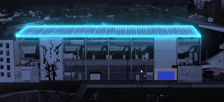Illustrasjon av solcellepaneler i forbindelse med prosjektet Skagerak Energilab på Skagerak Arena